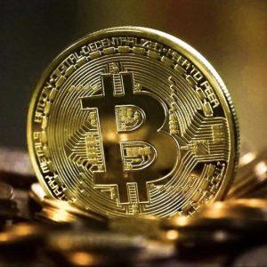 Metalen Bitcoin munt met hoesje